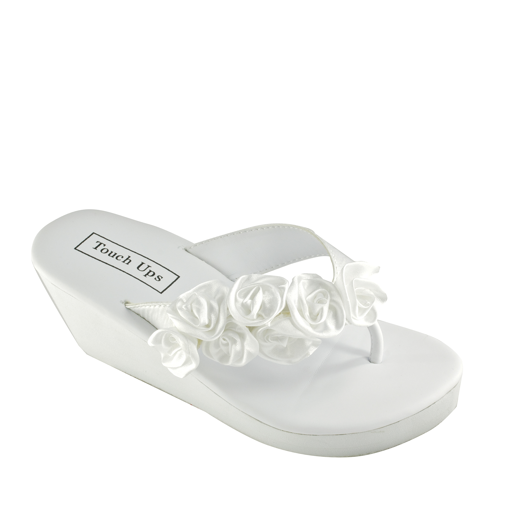 Bridal flip flops in White, Ivory, Silver, and Black for brides and bridesmaids.