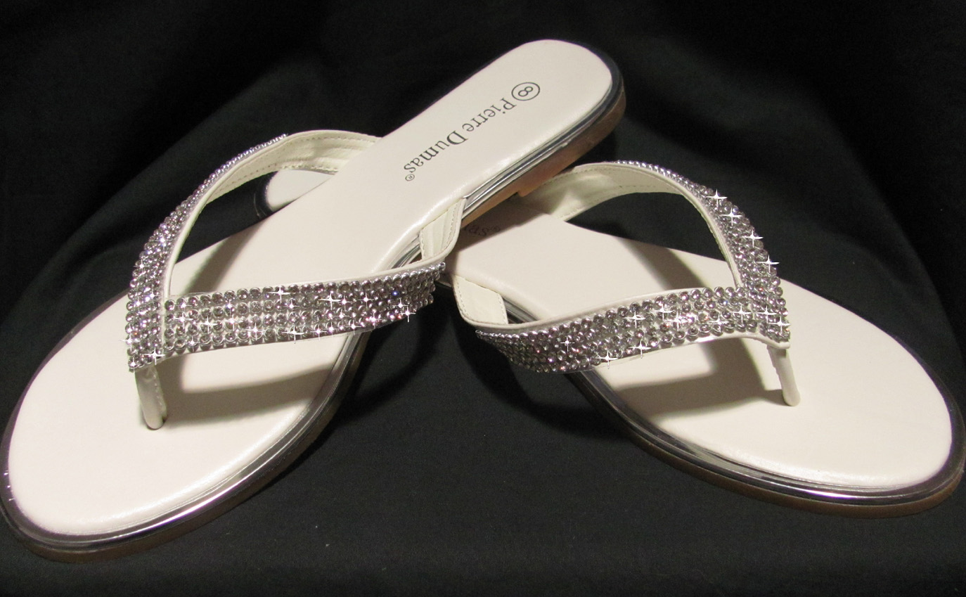 bridal flip flops comfortable wedding shoes Wedding Flip Flops With Bling brides off white flip flops with rhinestones for weddings wedding flip flops with bling