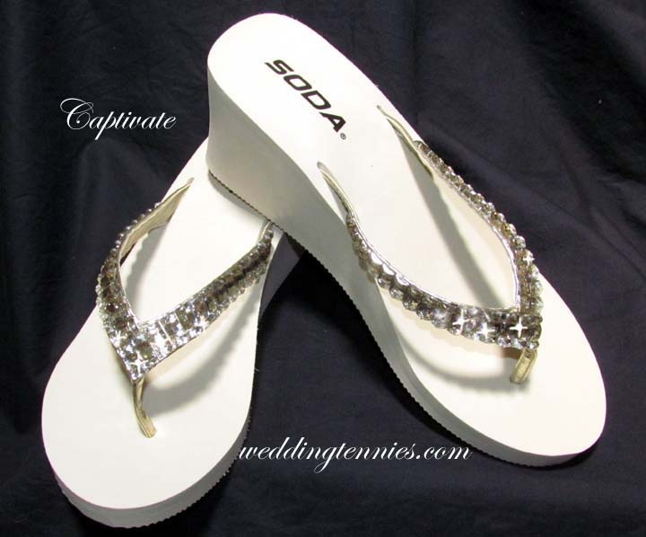 Light Ivory mini platform flip flops with rhinestones for weddings
