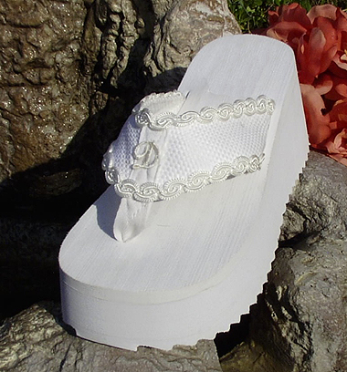 19b69ea9740 Platform Initial Bridal Flip Flops for weddings in white and light ivory