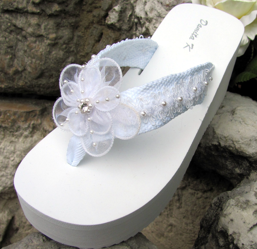 48685ad76b4260 White Bridal Flip Flops with Lace andchiffon flower trim for Weddings