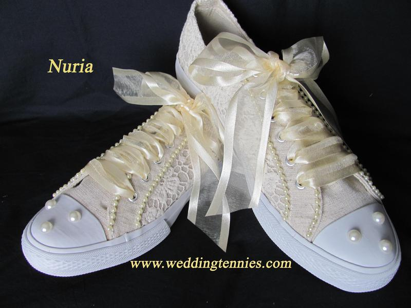 Ivory lace and pearl tennis shoes