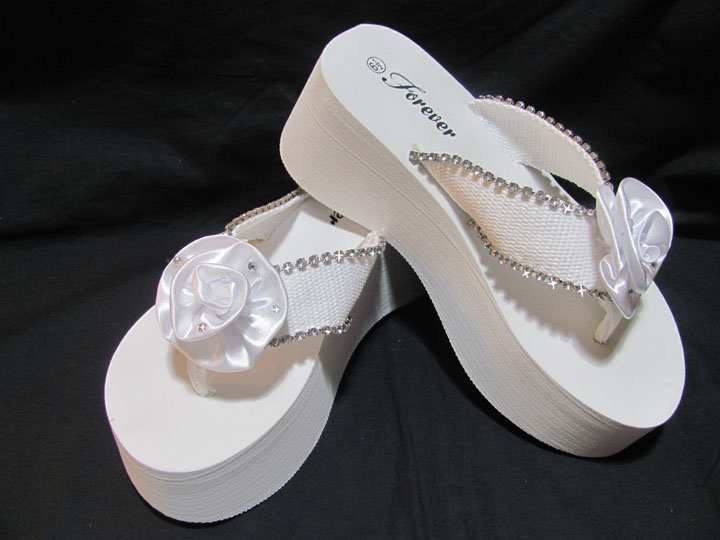 ce7892f9a Platform Bridal Flip Flops for weddings in white with Rhinestone Flower