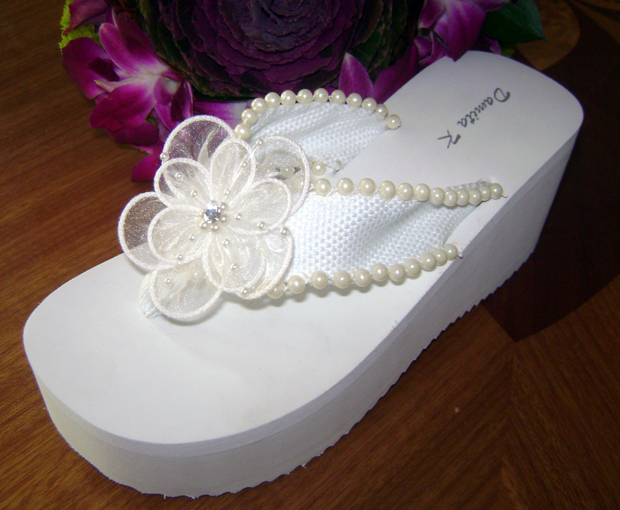 60d61aaffe4 White Bridal Flip Flops with Ivory Pearls and flower trim for Weddings