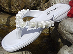 White Bridal Flip Flops with light ivory and white trim for weddings
