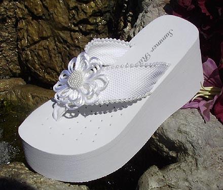 Platform Bridal Flip Flops with satin and pearl flower