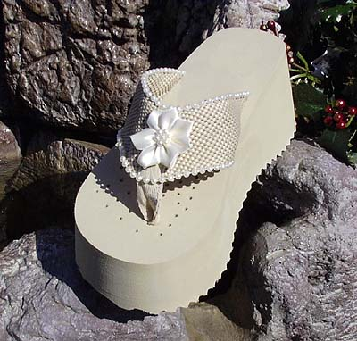 Dark Ivory Bridal Flip Flops with Satin Flower for Weddings