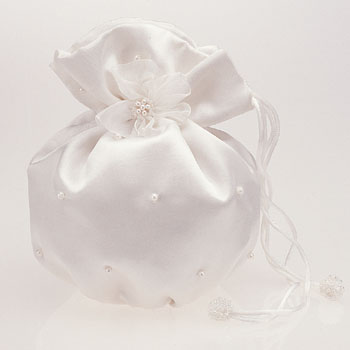 SDP2601 Satin Pouch with Pearls Great as a Handbag or Money Bag