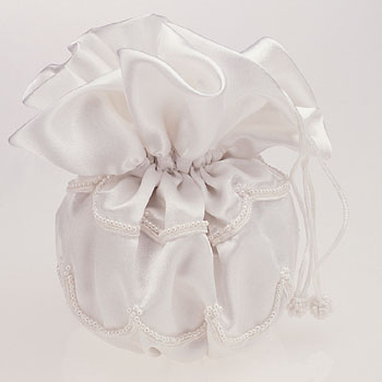 SDP2701 SDP2707 Satin Pouch with Pearl Trim White or Ivory 5 1 2 X 5