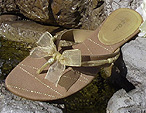 Brown Bridal Flip Flops with gold ribbon trim for Bridesmaids