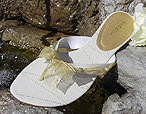 Cream Bridal Flip Flops with gold ribbon trim for Weddings