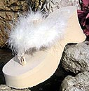 Dark Ivory Bridal Flip Flops with Maribou Feathers for Weddings
