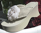 Dark Ivory Curvy Heel Bridal Flip Flops with Flower and pearls for Weddings