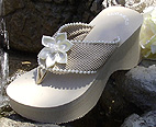 Dark Ivory Bridal Flip Flops with Satin Flower for Bridesmaids