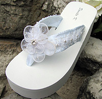 White Bridal Flip Flops with Lace andchiffon flower trim for Weddings