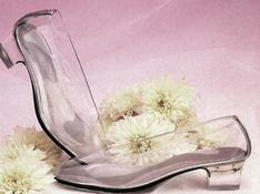 Children's bridal clear vinyl cinderella slipper pumps