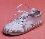 Children's bridal wedding tennies with pearls and ribbon
