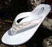 White Bridal Flip Flops lined with pearls for Weddings