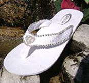 White Bridal Flip Flops with rhinestone heart centerpiece for Weddings.Great for Bridesmaids too!