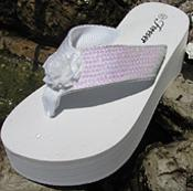 White Bridal Flip Flops with Irridescent sequins for Weddings Great for bridesmaids!