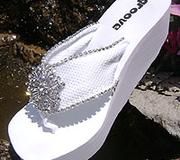 White Bridal Flip Flops with rhinestone vintage centerpiece for Weddings Great for Bridesmaids