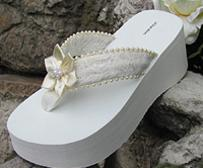 White and ivory lace and flower platform flip flops