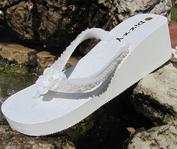 Ivory Bridal Flip Flops with beading for Weddings
