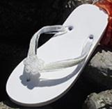 Light Ivory Bridal Flip Flops with pearls for weddings