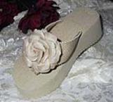 Dark Ivory Bridal Flip Flops with Flower and pearls for Weddings