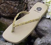 Ivory Bridal Flip Flops with gold and rhinestone trim for Weddings