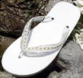 Ivory Bridal Flip Flops with ivory pearls and  rhinestone trim for Weddings