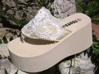 Medium Ivory Bridal Flip Flops with lace for weddings
