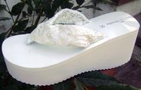 Light Ivory Lacey Bridal Flip Flops with pearls for weddings
