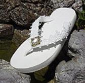 White Bridal Flip Flops with antique button for weddings