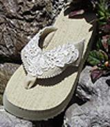 Dark Ivory Bridal Flip Flops with lace for Weddings