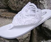 White Lace on flat flip flops for brides