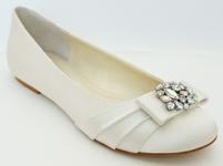Light Ivory Satin Ballet Flats with Rhinestones  for weddings