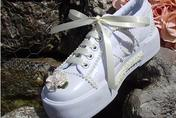 Children's wedding tennies in white or ivory wiht learls and lace