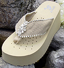 Dark Ivory Bridal Flip Flops withRhinestones for Weddings