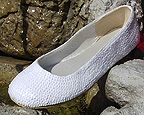 White Sequin Bridal Ballet Flats for weddings