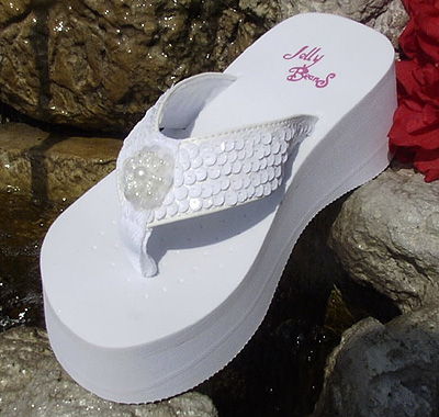 41cbe9d4e Platform White Sequin Bridal Flip Flops for weddi
