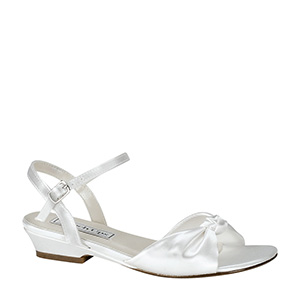 Children's white satin low heel comfort  sandal