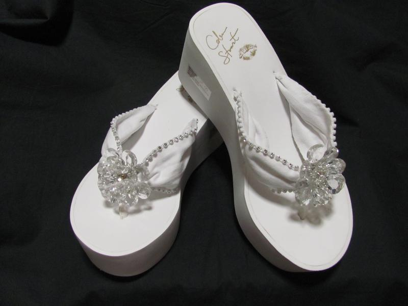 77a10d1b0c50 High Flip Flops with Rhienstones and Crystal Flower Center