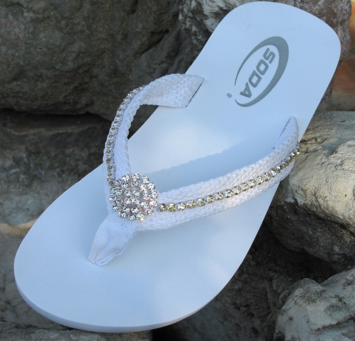 6b672e85a Whiite flat flip flops with fabric straps lined with rhinestones for wedding