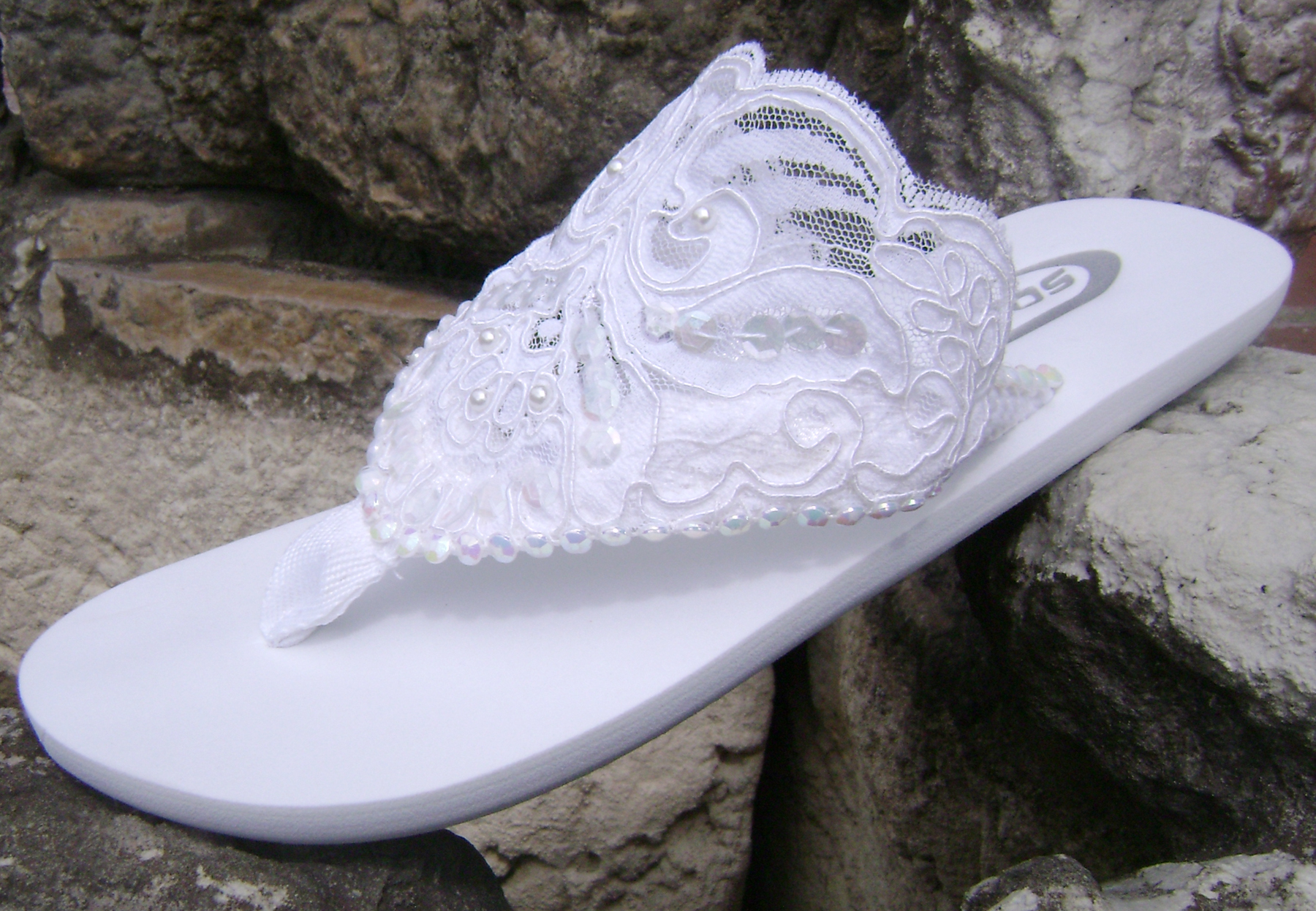 1a838ca7b White Lace on flat flip flops for brides. Style Rhinestone Flip Flops