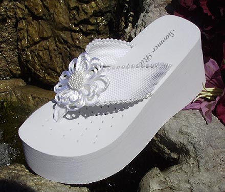 bfce3869c752 Platform Bridal Flip Flops with satin and pearl flower