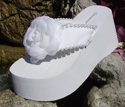 7d9d96764428 White Platform Flower and Pearl Flip flops for Brides