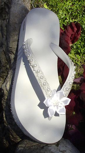 3f6b6062c white bridal flip flops with satin flower and pearls