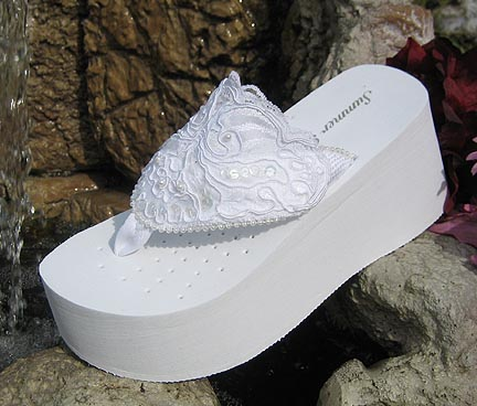 afc13ddc6769 Platform white lace and sequin and pearl flip flops for brides